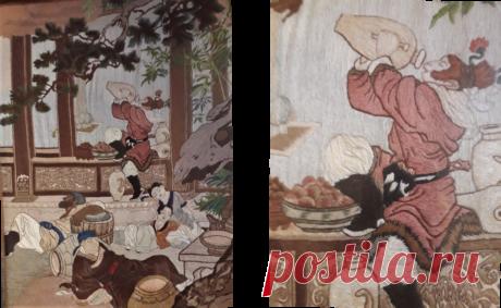 На старинной китайской вышивке я обнаружила героя компьютерных игр - Царя обезьян | Очень занятая  пенсионерка | Яндекс Дзен