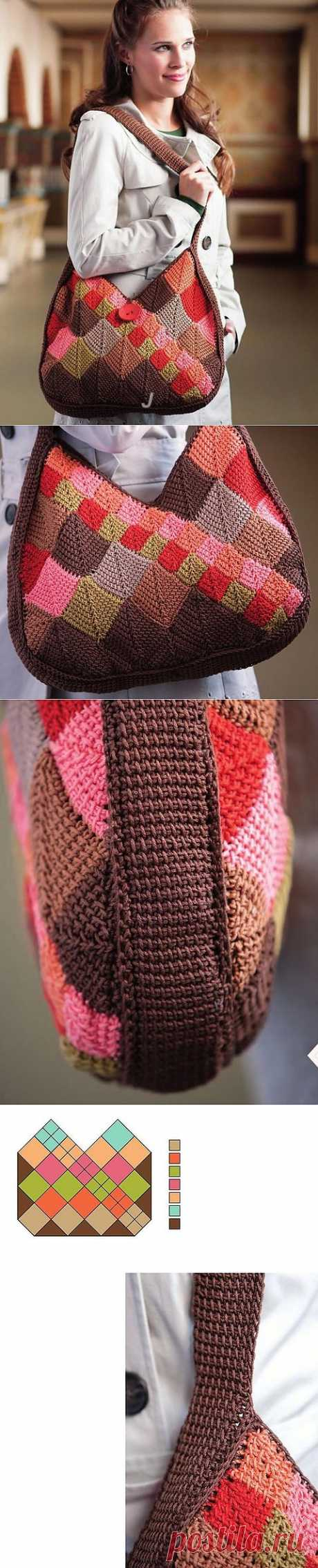 сумка тунисским вязанием.