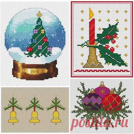 Новогодняя вышивка крестом. Схемы Ещё несколько небольших схем для тех, кто хочет успеть сделать новогоднюю вышивку. Темы дизайнов традиционны: снежный шар с новогодней ёлочкой, рождественская свеча с остролистом, колокольчики, и конечно, яркие ёлочные шары. Схемы новогодней вышивки крестом отлично подойдут для украшения подарочных мешочков, создания пинкипов, оформления новогодних открыток своими руками.