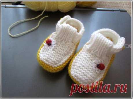 """Пинеточки-туфельки """"Солнечные"""" с божьей коровкой для малыша 3-5 месяцев"""