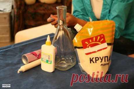 Как задекорировать вазу с помощью клея и манной крупой   Умелые ручки