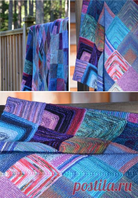 Простой плед из квадратов - схема вязания спицами. Вяжем Пледы на Verena.ru