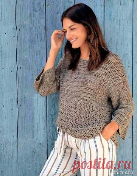 Вязание крючком: Пуловер с жасминовым узором — Отлично! Школа моды, декора и актуального рукоделия