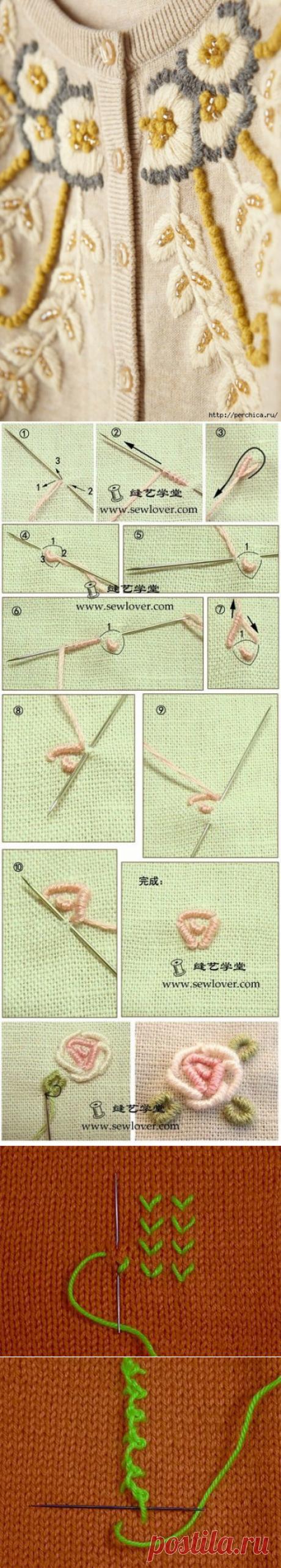 Основные швы вышивки нитками по трикотажному и вязаному полотну