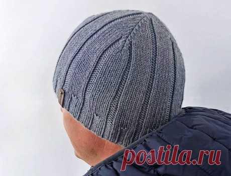 Мужские шапки, связанные спицами несложными узорами   Идеи рукоделия   Яндекс Дзен