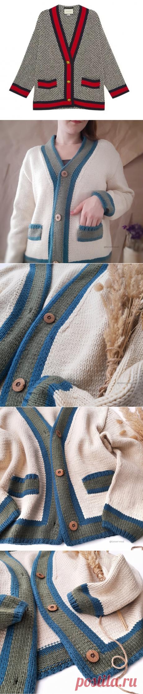 Кардиган спицами с элементами интарсии. Описание модели. | Вязание красиво. Tamerwool | Яндекс Дзен
