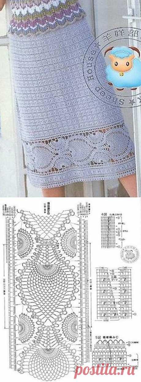 Узор для каймы юбки крючком