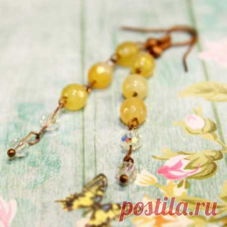 Серьги Amorella - авторские украшения с камнями Жёлтые серьги. Купить сережки на лето