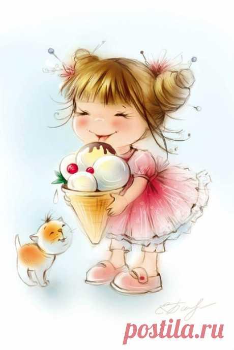 Мороженое, тот ещё искус! Прохладу с сладостью красиво совмещая, Нам дарит свой неповторимый вкус, Что позволяет ощутить частичку рая!  Пломбир, с фисташками иль даже крем-брюле. Какой букет! Какое наслажденье! Давайте, мы признаемся себе, Мороженое-символ дня рожденья!  Я вовсе не прошу меня понять. В рекламе, вафельный, не двигаю стаканчик! Я просто счастлив самым близким покупать Товар, что у детей зовётся-счастье! (с)