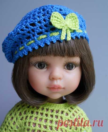 La boina para la muñeca Paola Reina tejido por el gancho. Las Clases maestras por la labor de punto en el sitio My-Dolls.info