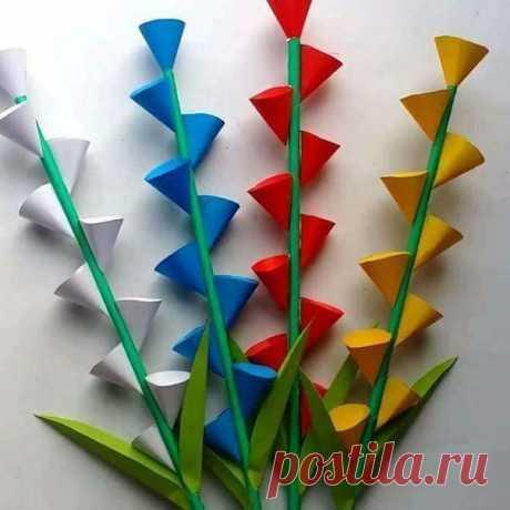 Оригинально и просто. цветы из бумаги. правда, супер?!!! — Поделки с детьми
