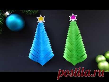 Простая оригами елочка из бумаги 🎄 новогодние украшения своими руками