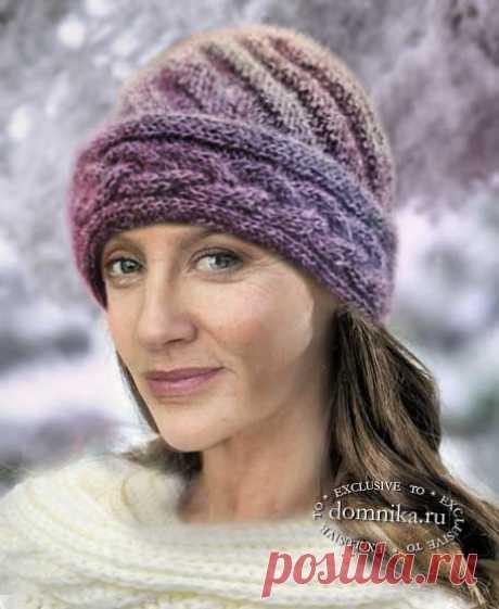 Зимние шапки спицами для пожилых женщин - вязаные шапки зимние модели