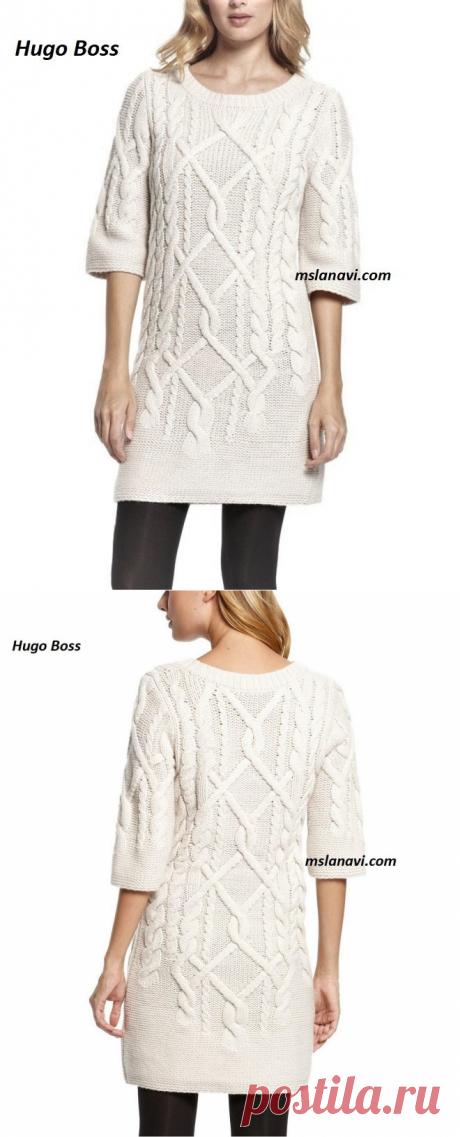 Платье красивыми аранами от Hugo Boss   Вяжем с Лана Ви