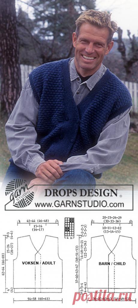 DROPS 59-18 - Gilet sans manches DROPS pour Hommes et Enfants en Alpaca - Free pattern by DROPS Design