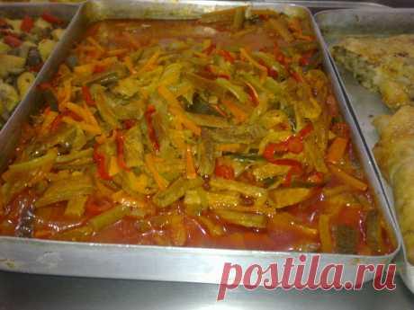 Говядина( змейка) с овощами в томатном соусе.