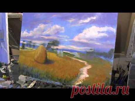 Пейзаж, пшеничное поле, уроки для новичков, масляная живопись , Сахаров