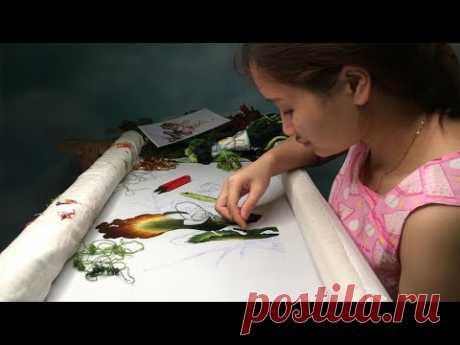 ручная вышивка - вышивка цветов лотоса