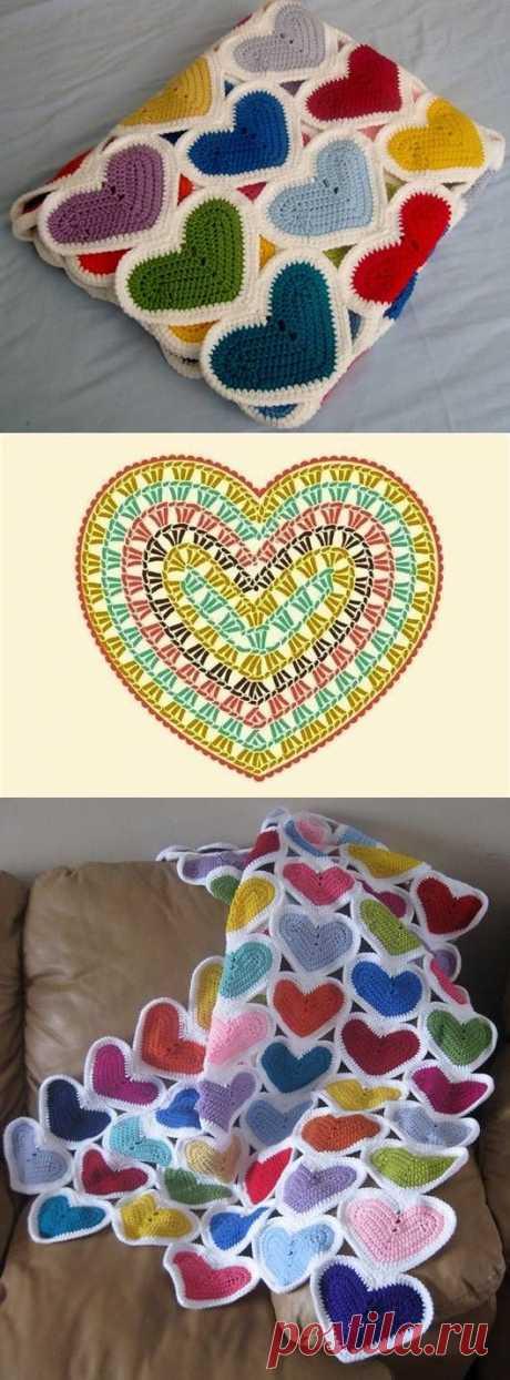 DIY Heart Baby Blanket. | Things to make | Детские Покрывала, Одеяла и Вязаные Крючком Детские Одеяла