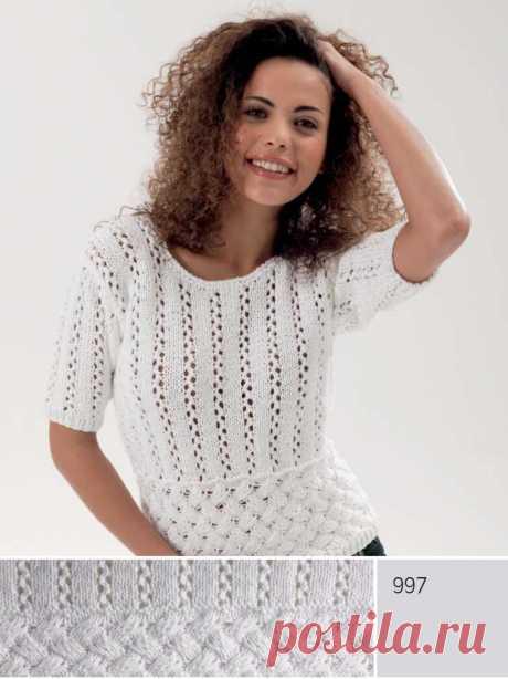 Пуловер с короткими рукавами (спицы)