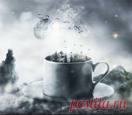 Создаем в Фотошоп коллаж с чашечкой утреннего кофе В этом уроке вы узнаете как, используя несложные методы и приемы, создать фантастическую композицию с чашечкой утреннего кофе.