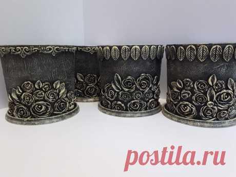 Декорированные горшки для цветов из папье - маше и майонезных вёдер................