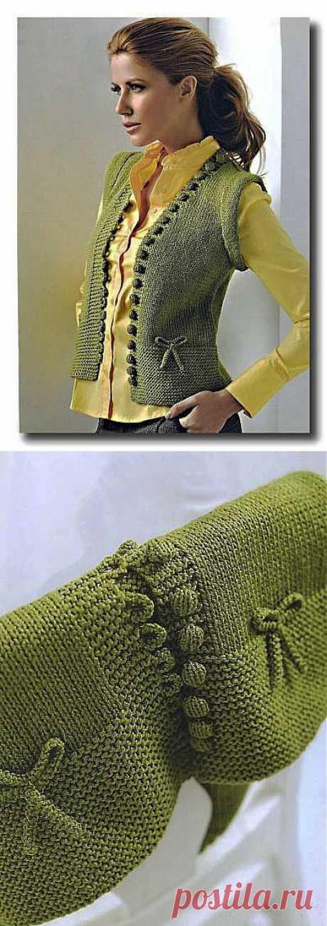 Связанная на спицах зеленая жилетка. - 21 Января 2010 - Вязание спицами, модели и схемы для вязания на спицах