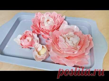 ПИОН ИЗ ШОКОЛАДА Быстрый цветок на торт  Пошагово МК / Chocolate Flower