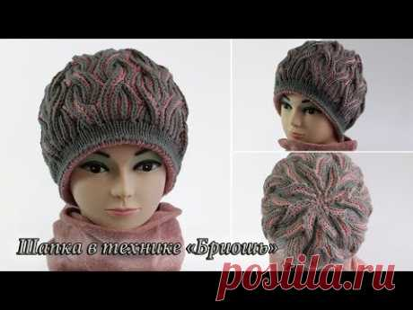 Шапка - берет спицами в технике «Бриошь», видео: | Brioche hat patterns: