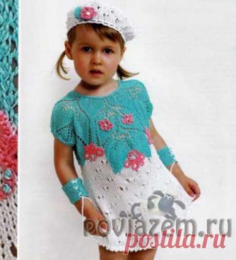 Платье для девочки спицами и крючком, детские вязаные сарафаны