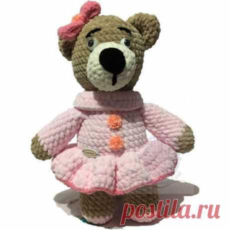 Детская игрушка Медведица в шикарном розовом платье, 30 см. Детская игрушка Медведица в шикарном розовом платье, 30 см - выполненная из плюшевой пряжи. Очень красивая и симпатичная. За основу взята плюшевая пряжа бежевого цвета, платье выполнено в розовом цвете. На платье расположены украшения в виде цветочков. Купить игрушку недорого!