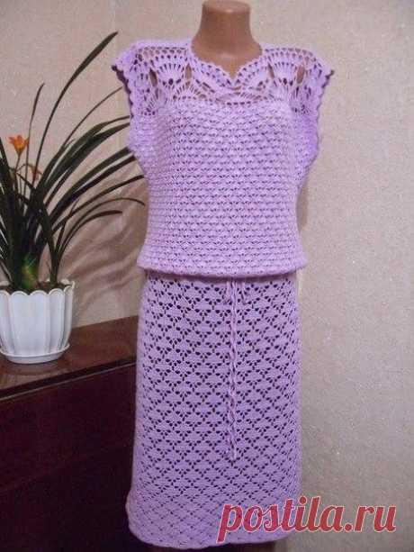 Присоединяйтесь в нашей группе ВЯЗАНИЕ СПИЦАМИ КРЮЧКОМ РУКОДЕЛИЕ ВЫШИВКА Сиреневое платье крючком