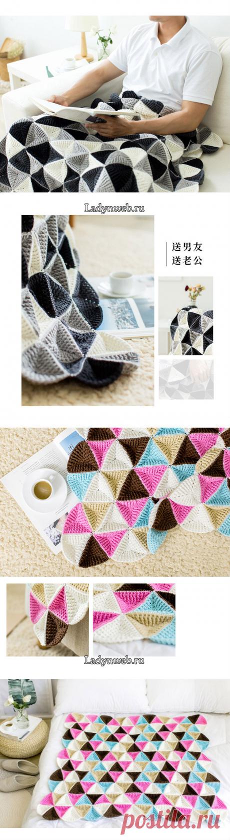 Плед из треугольных мотивов крючком схема | Ladynweb.ru