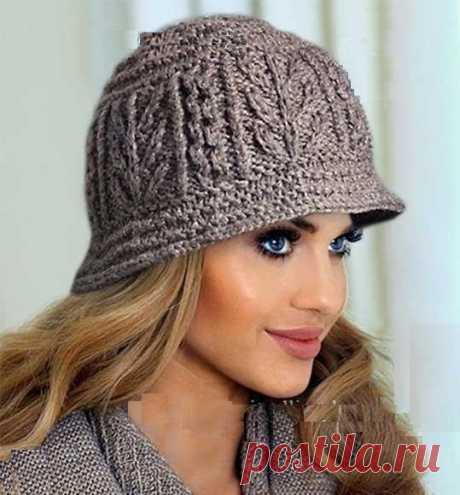 Вязаная с аранами шляпка (схема вязания) Модная одежда и дизайн интерьера своими руками