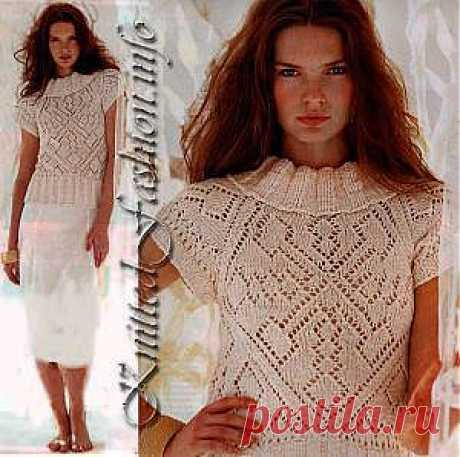 Топ с ажурными мотивами - KnittedFashion.info - Модное Вязание