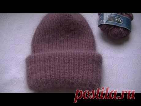 Вязаная шапочка резинкой 1*1 с двойним отворотом из пуха норки.