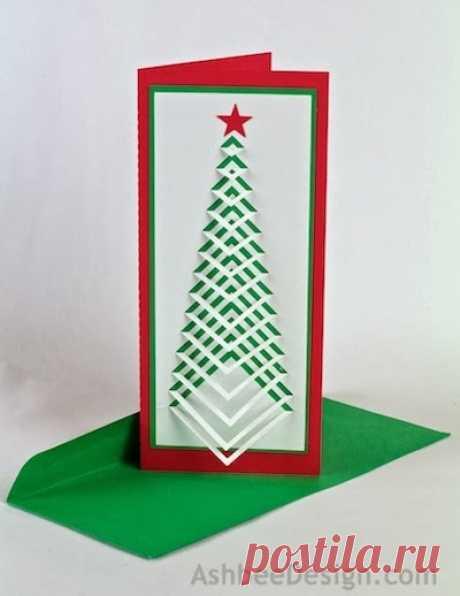 Новогодние елочки из картона. Открытка и силуэтная елочка