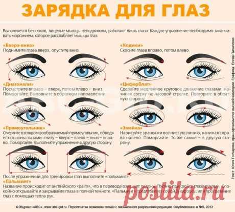 Гимнастика для глаз. Ради хорошего зрения не пожалейте 5 минут в день!