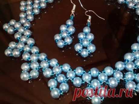 Tutorial: jewelry set. Easy. Комплект украшений: колье и серьги. МК