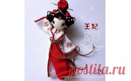 Вязаная кукла Гейша. Крючком. Описание Руководство по вязанию крючком игрушки «Кукла Гейша»