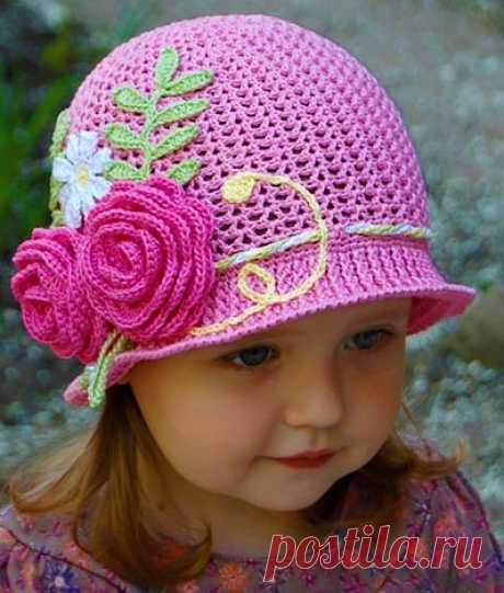 Летняя шапочка для девочки 3-4 лет крючком | ВЯЗАНИЕ ШАПОК: женские шапки спицами и крючком, мужские и детские шапки, вязаные сумки