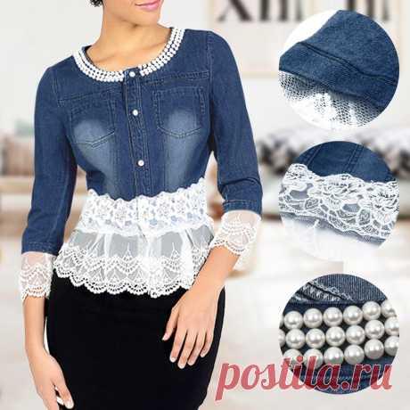 Women's Denim Jacket Lace Patchwork Pearl Slim Long Sleeve Denim Jacke – NaniaShop.com