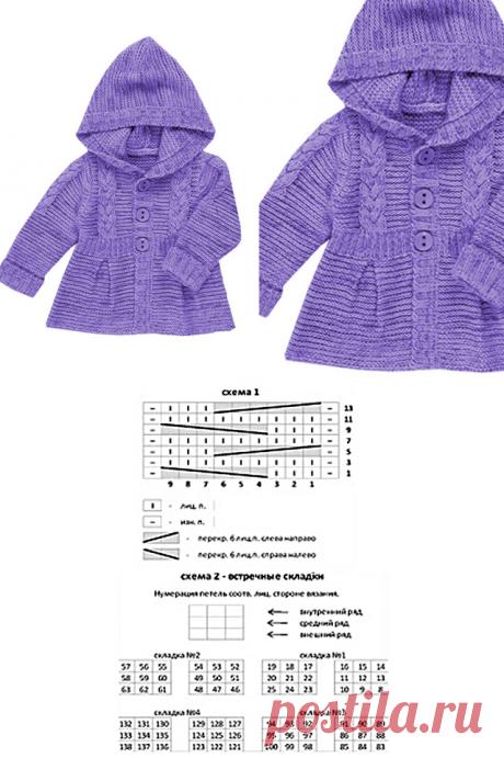 Вяжем красивое пальто спицами