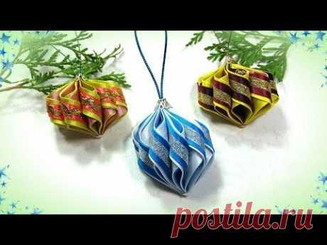 (127) Игрушки на ёлку своими руками, фонарики из косой бейки / diy christmas ornaments - YouTube