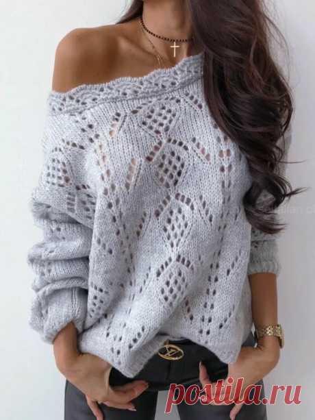 Пуловер ажуром спицами
