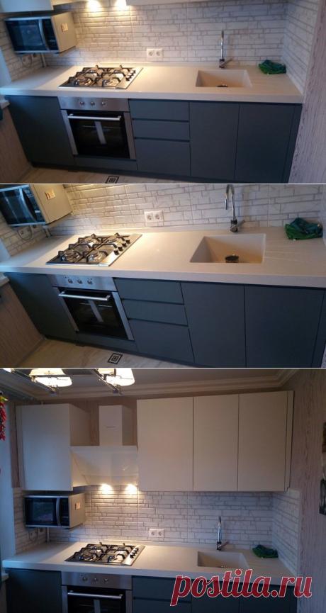 Строгая красота. Кухня с крашеными фасадами, дорогой фурнитурой и интегрированной мойкой
