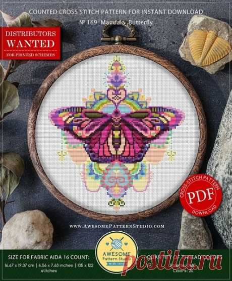 Awesome. 169 Mandala Butterfly #awesome@club_xsd жми на фото