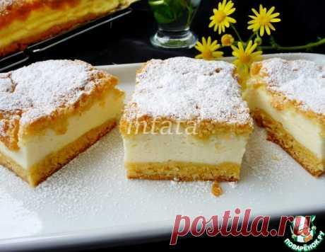 Пирог песочный с йогуртово-сметанной начинкой – кулинарный рецепт