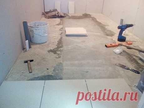 Укладка плитки на бетонный пол в ванной комнате своими руками | Рекомендательная система Пульс Mail.ru