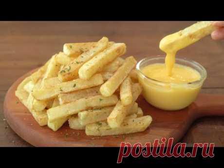 [субтитры] Картофель фри и сырный соус :: Как приготовить хрустящий картофель фри